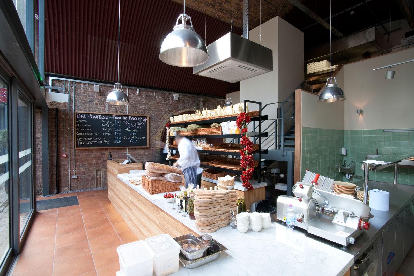 View of kitchen prep area in nice restaurant